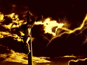 crucifixion-of-jesus-christ-with-dramatic-sky-and-lightning