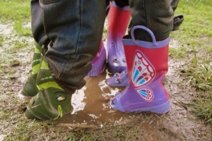 Rainboots in mud. Oh yeah.