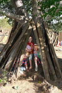 Kiddos in their teepee.