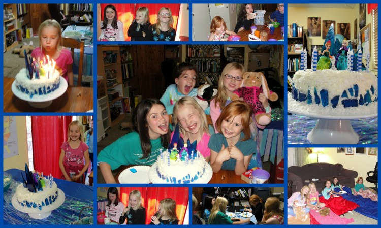 Clockwise from Top Left: 10 candles; goofy girls in the morning; hot chocolate with breakfast; Frozen cake; movie time; making t-shirts; more silliness; Lydia sees her cake. (Click to enlarge)