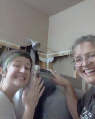 Dorenna & I with Bertha -- the tub that battled hard to stay.
