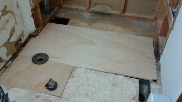 The finished big pieces of new subfloor.