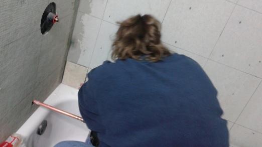 Dorenna teaching me the ways of tile.