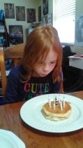 Birthday pancakes on Friday.