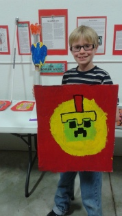 His version of a Roman shield. Minecraft style.