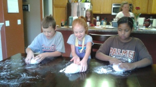 """Kneading. """"This is fun!"""""""