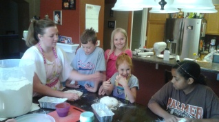 Shaping the loaves.