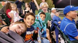 Durin and his buddies at a SkySox game.