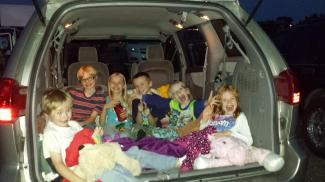 Piled into the van at the drive-in: we saw Inside Out & TomorrowLand
